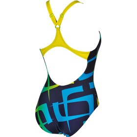 arena Scrawl B One Piece Swimsuit Women navy-yellow star